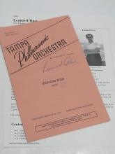 Leonard Rose Cellist Tampa Philharmonic Orchestra Autographed Signed Symphony Concerto 1956 Program
