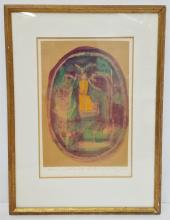 Vintage Gino Mangravite Watercolor and Gouache Stylized Angel Abstract Modernist Christmas Holiday Card