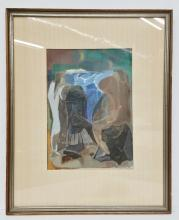 Vintage Peppino Gino Mangravite Pastel Gouache on Paper Modernist Allegorical Figures Painting Signed