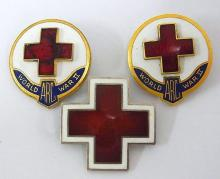 WWI WWII American Red Cross Vintage Enamel Sterling Silver Antique Pendant Pins Lot