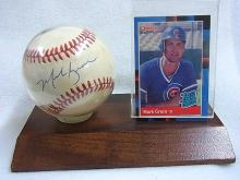 Mark Grace Chicago Cubs Autographed Baseball and 1988 Rookie Card with Display