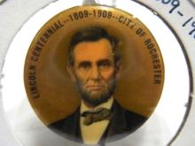 Abraham Lincoln 1809-1909 Centennial Rochester New York Celluloid Commemorative Extremely Fine Button