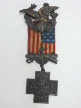 Spanish American War 1898-1902 Veterans Antique Medal Flag Eagle Cuba Phillipines Numbered Pin