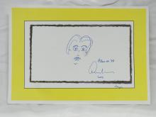 Original Edward Albee Ink Drawing Playwright Self Portrait Albee at 78 Signed 2006
