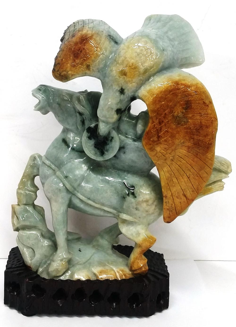 Antique Chinese Asian Large Green To Rust Jadeite Jade Eagle Horse Statue Wooden Base