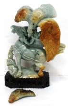 Lot 1526: Antique Chinese Asian Large Green To Rust Jadeite Jade Eagle Horse Statue Wooden Base
