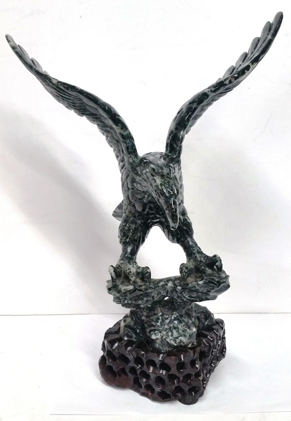 Lot 1512: Antique Chinese Asian Black White Nephrite Jade Carved Eagle Sculpture Statue Wooden Base