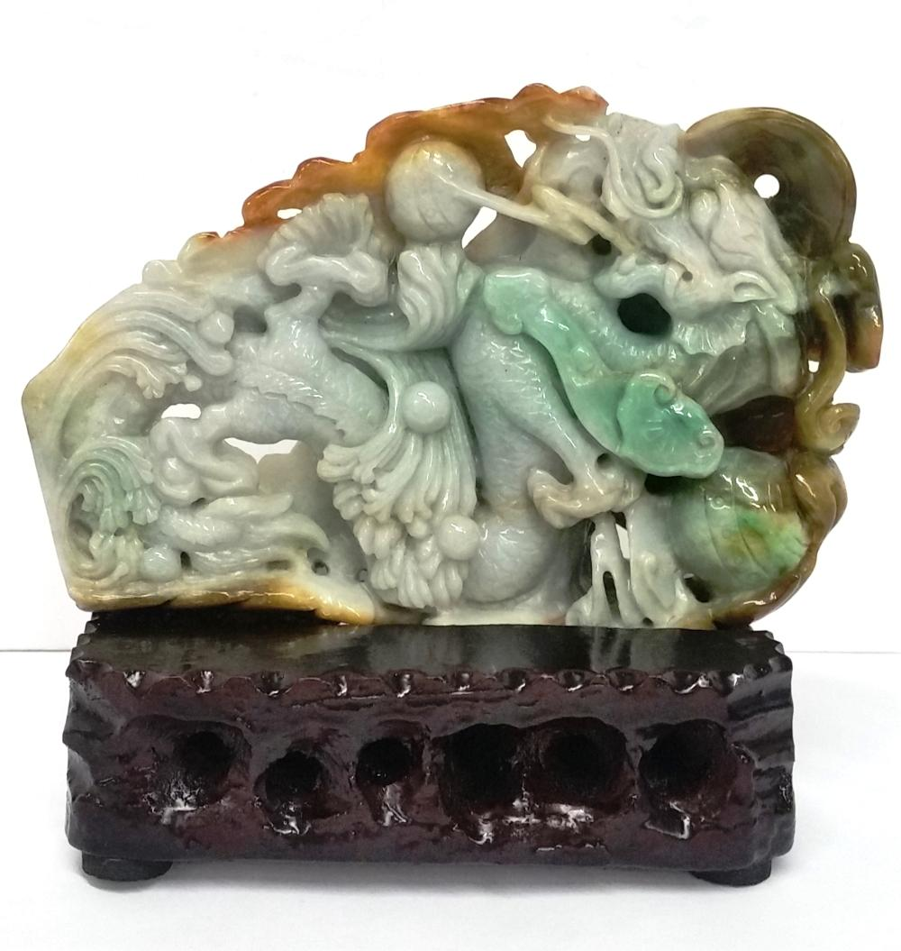 Antique Chinese Asian Rust Green Jadeite Jade Dragon Carving Sculpture Statue Wooden Base