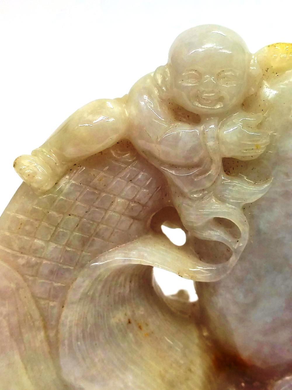 Lot 1520: Antique Chinese Asian Lavender Rust Jadeite Jade Koi Figural Carving Sculpture Statue