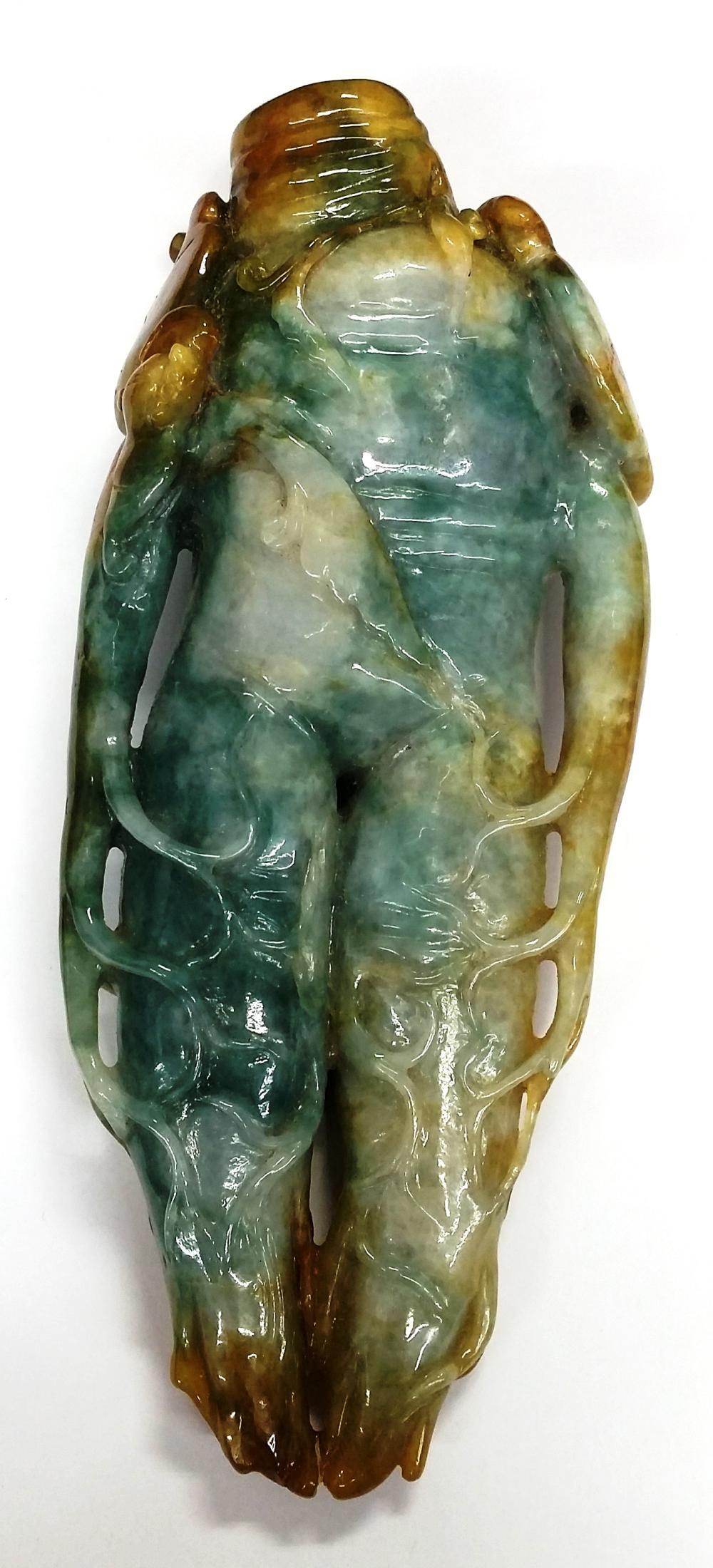 Antique Chinese Asian Rust Green Jadeite Jade Tentacle Algae Hand Man