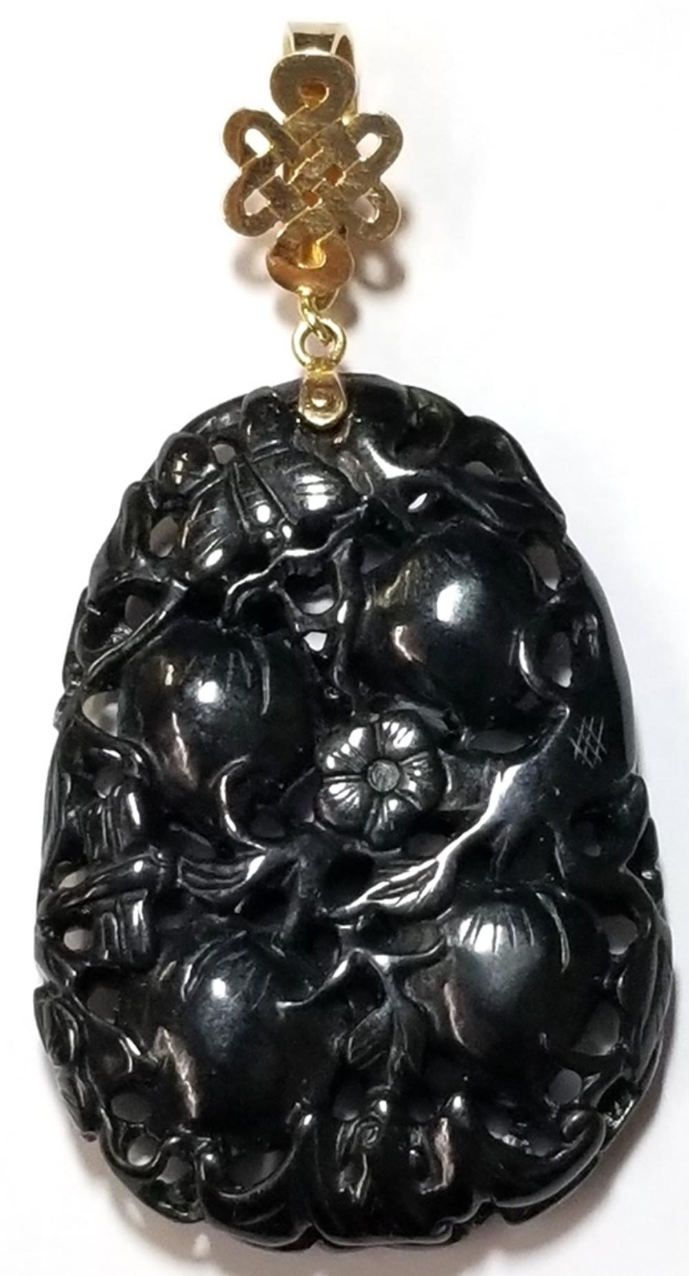Massive Carved Black Jadeite Jade 14k Gold Pendant w Celtic Love Knot Enhancer Bail Fruit Flowers