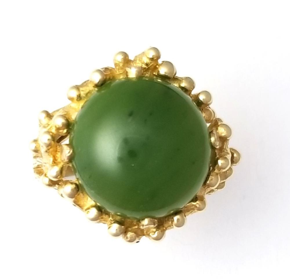 Vintage Midcentury Nephrite Jade Yellow Gold Sputnik Ladies Ring