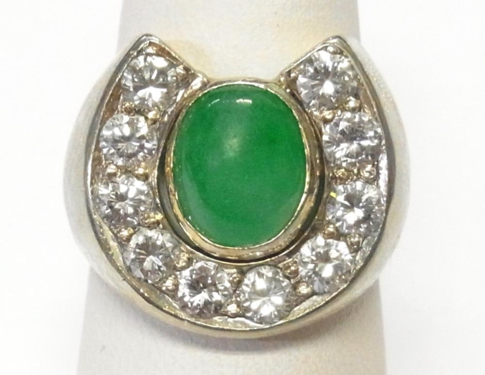 Fine Diamond Green Jadeite Jade 14k White Gold Mens 1950s Vintage Horseshoe Ring Size 7
