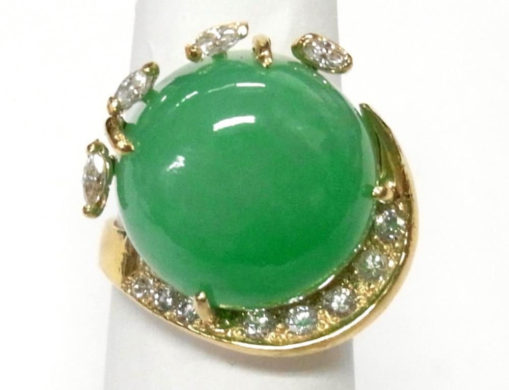 Huge 20ct Apple Green Jadeite Jade 14k Gold Fine Diamond Ring 1960s Midcentury Swirl Size 4.5
