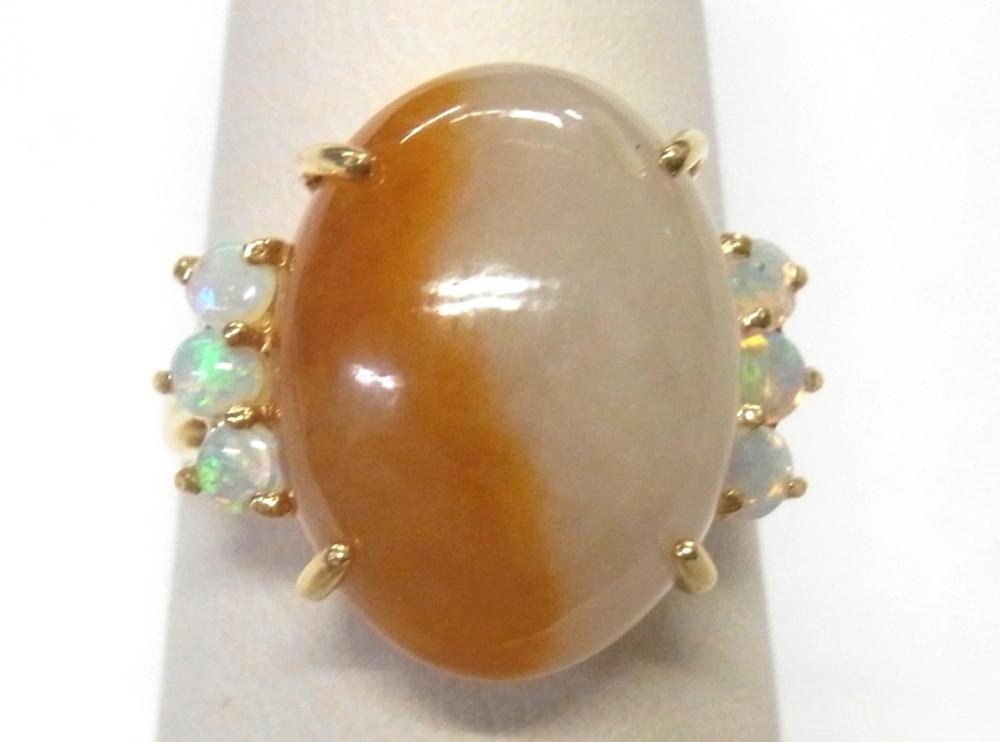 Unique Butterscotch Muttonfat Jadeite Jade 14k Gold Natural Opal Ladies Vintage Ring Size 7.25