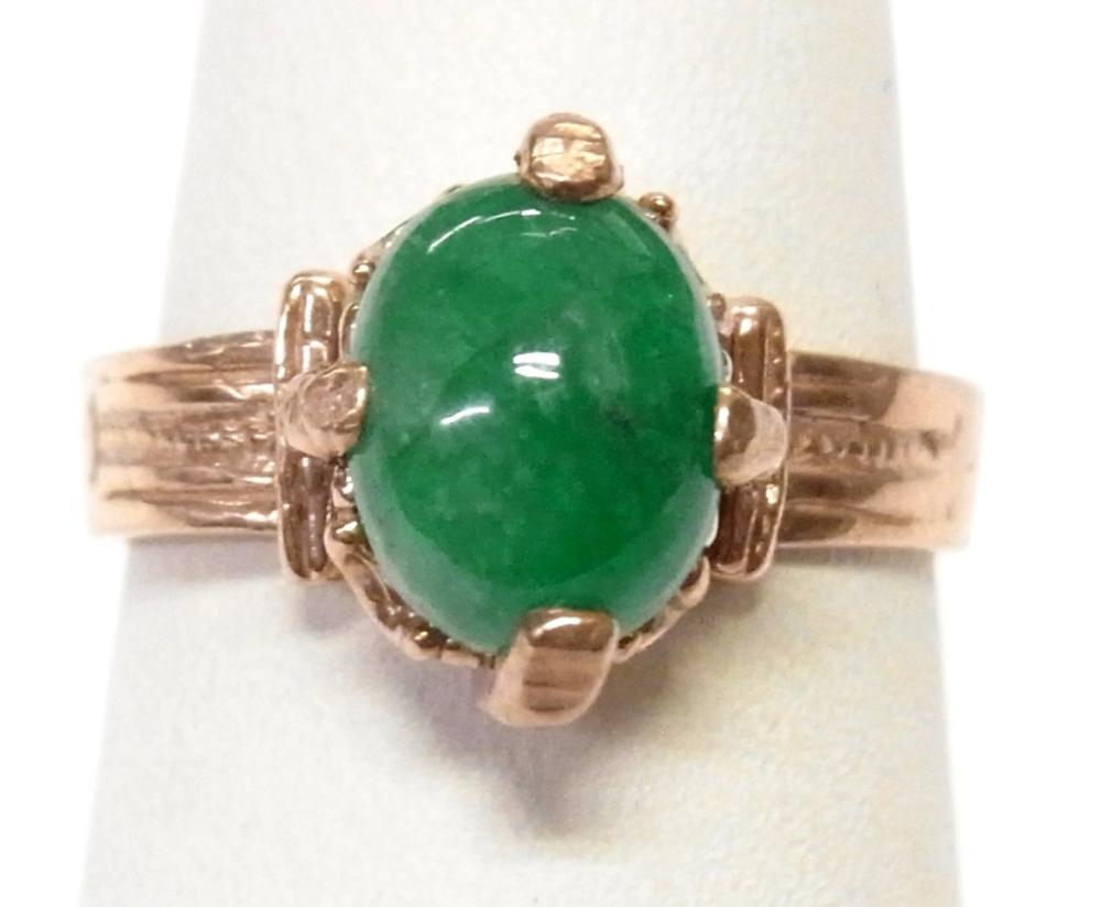 Antique Green Jadeite Jade 14k Rose Gold Victorian Era Ring Size 6.25