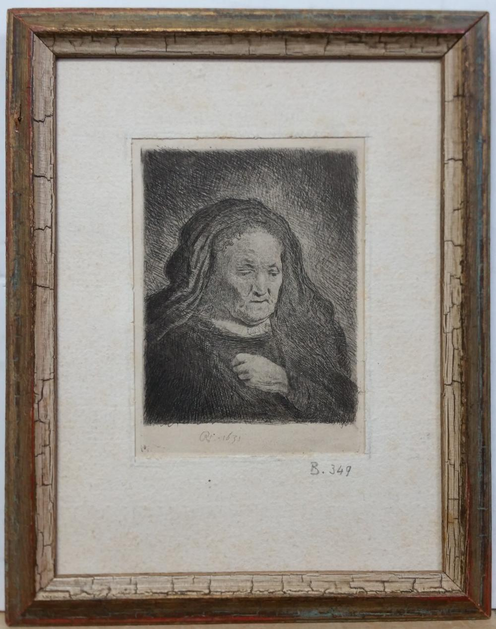 Rembrandt Artist Mother Portrait Etching Plate Date 1631 Antique Impression Plate 349