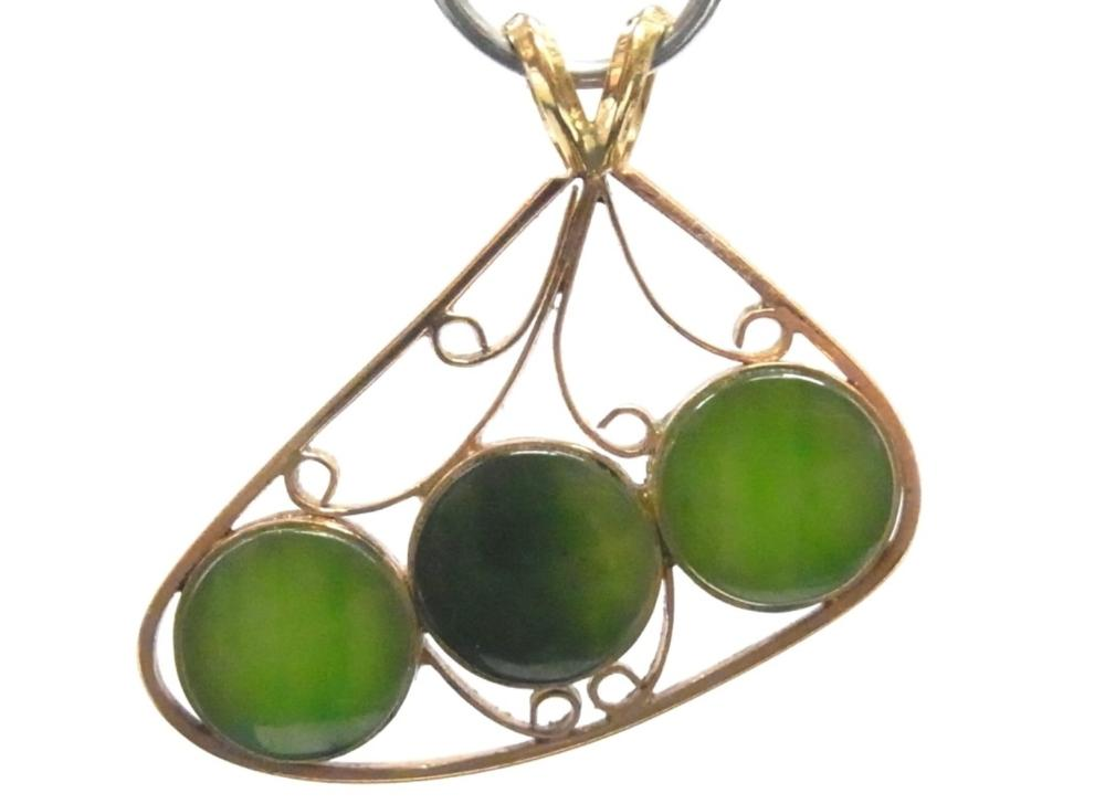 Antique Spinach Green  Jade 9k Rose Gold 3 Stone Unique Handcrafted Artisan Pendant
