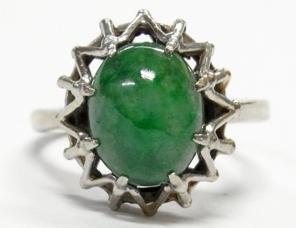 14k White Gold Mottled Green Jadeite Jade Solitaire Ladies Midcentury Ring Size 5.75