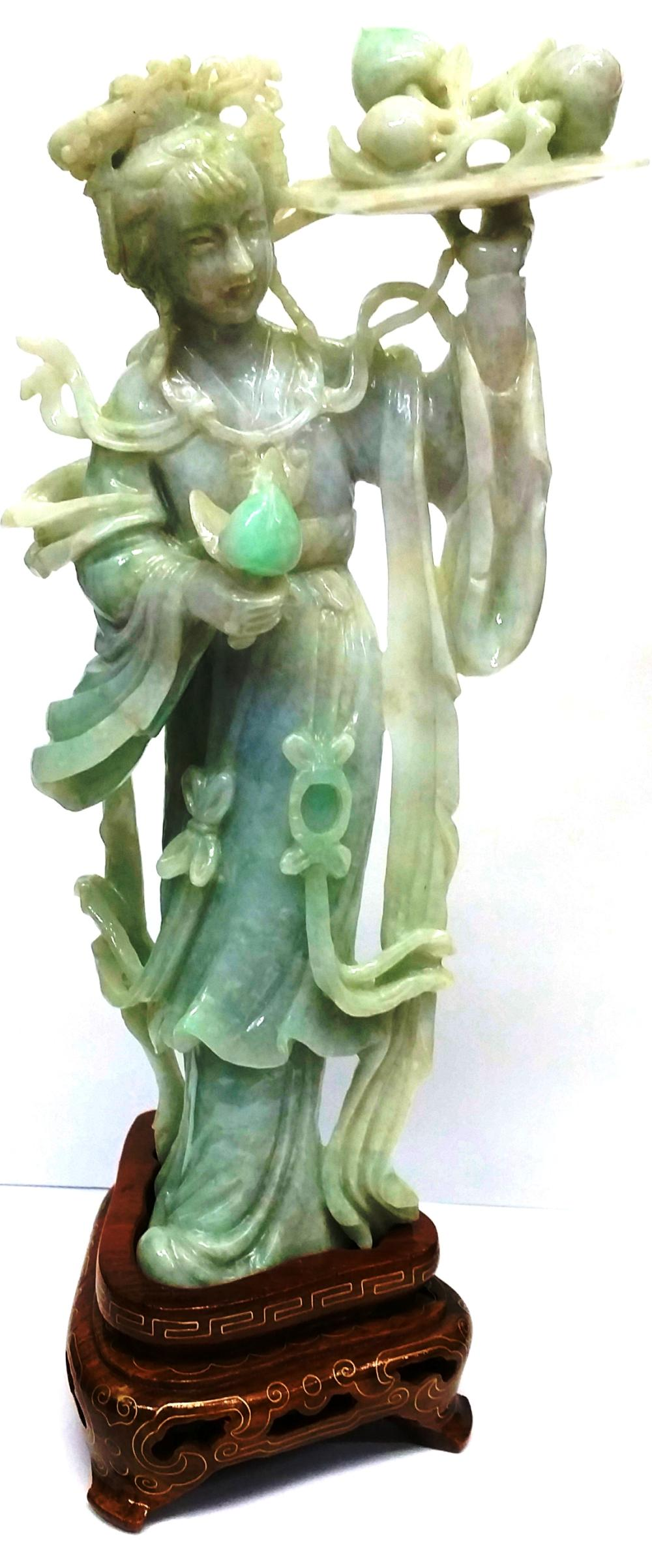 Antique Chinese 7.5in Guan Yin Standing Pale Lavender Apple Green White Jadeite Jade Statue Sculpture Kassias NYC 1983 Provenance
