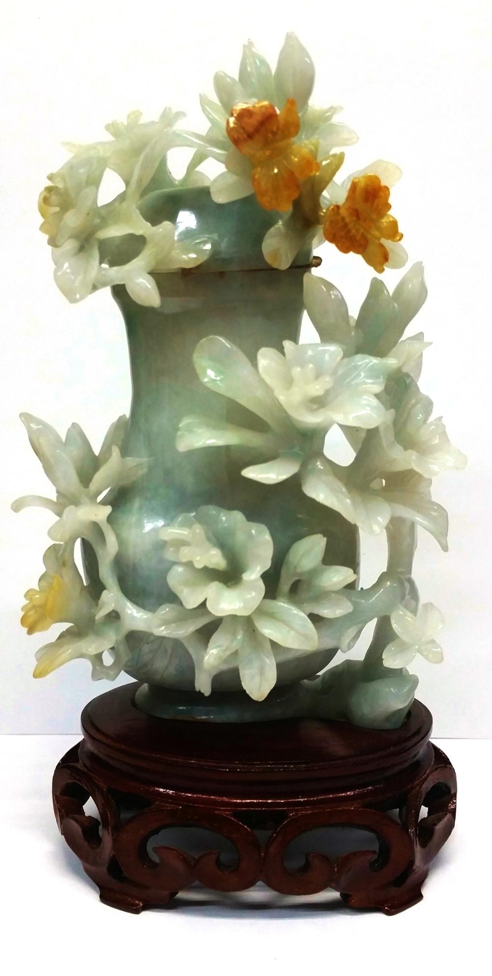 Antique Chinese Pale Celadon With Orange Vein White Jadeite Jade Heavily Carved Lidded Vase Urn With Encrusted Flowers 5.25in Kassias NYC Provenance