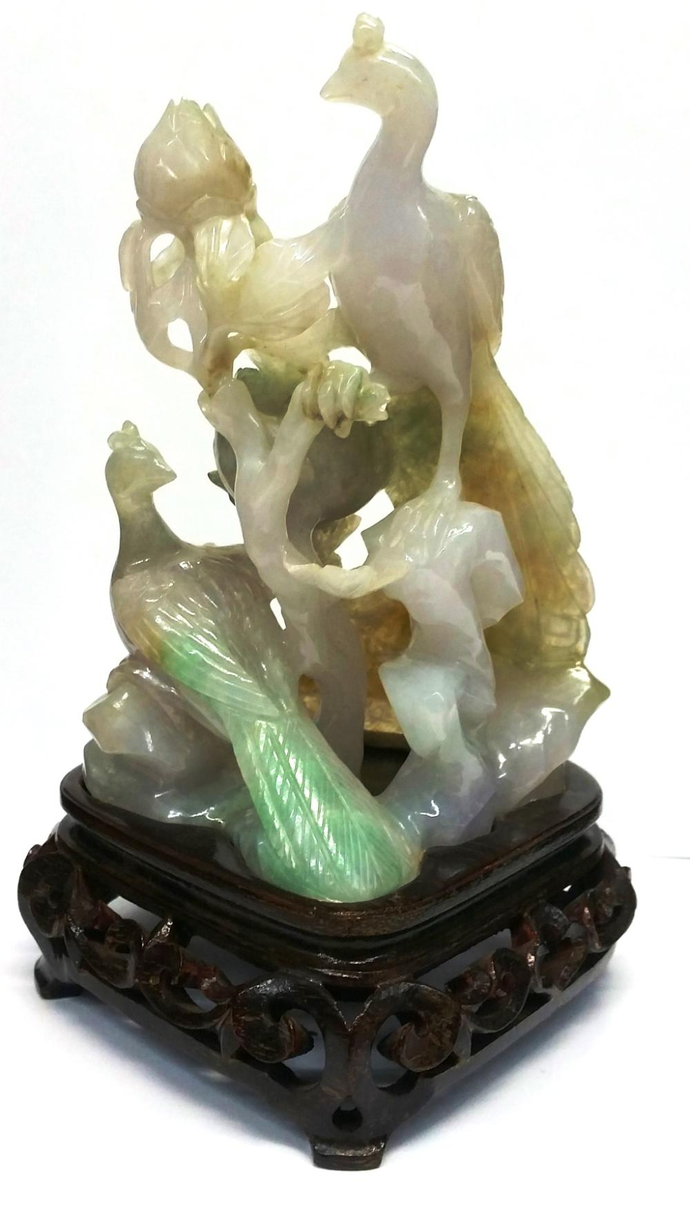 Antique Chinese White Jadeite Jade With Orange Dark Apple Green Moss In Snow Veins Peacock Peahen Carved Statue Sculpture 5in Kassias NYC Provenance