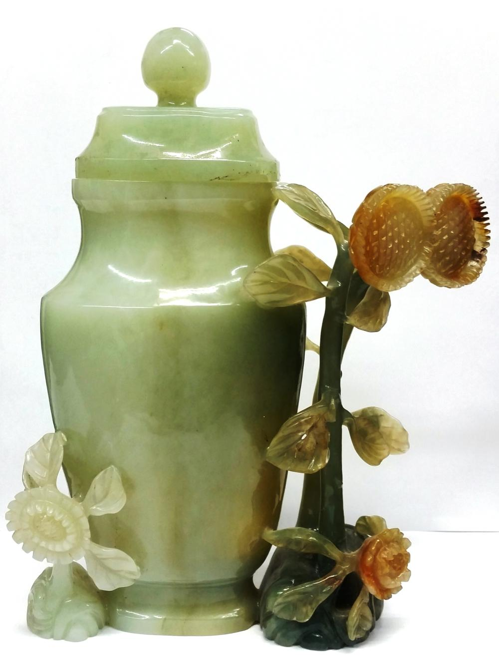 Antique Chinese Large Green Jadeite Jade Floral Covered Vase Urn Trosby Galleries Palm Beach 1970s Provenance