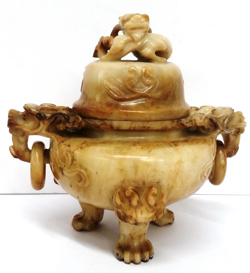 Antique Chinese Lg White Mutton Fat Nephrite Jade Censer Incense Burner Figural Carved Dragon Motif Asian Provenance