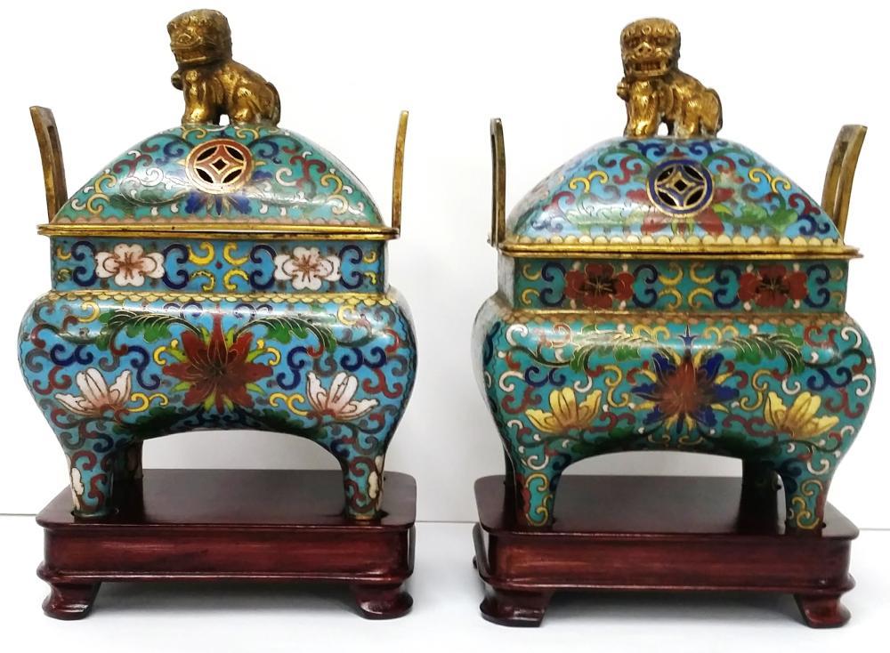 Pair Fine Antique Chinese Gilt Bronze Cloisonne Figural Censers Incense Burners Foo Dog Lion Handled Lids Asian Provenance