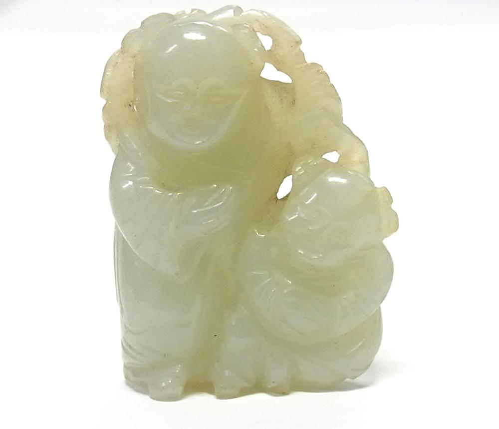 Antique Chinese Jadeite Jade 261ct Carved Double Child Miniature Figure Sculpture  w/ Asian Provenance