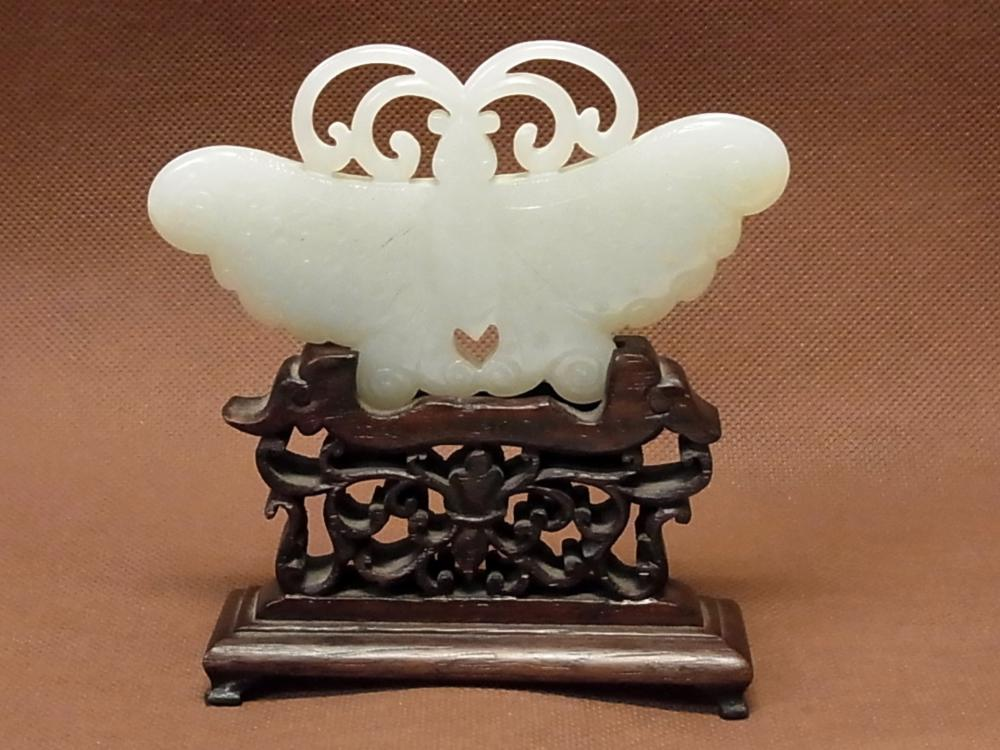 Antique Chinese Carved Jade 398ct White Jadeite 4 inch Butterfly Amulet on Later Screen Type Carved Stand w/ Asian Provenance