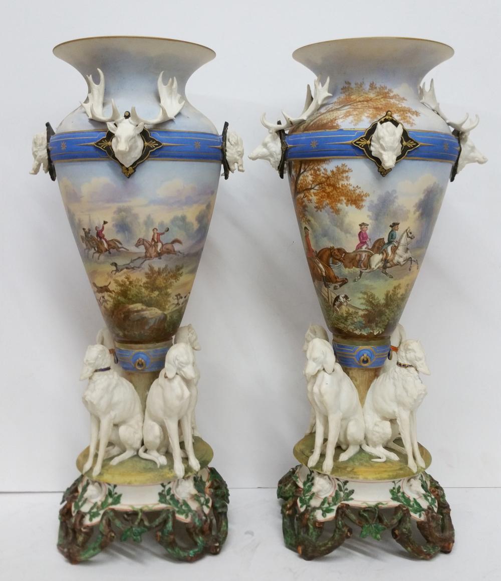 Pair Antique Large Sevres French Fox Hut Porcelain Dog Trophy Mount Figural Vase Urns Hogs Elk Deer Hounds Signed Mark.