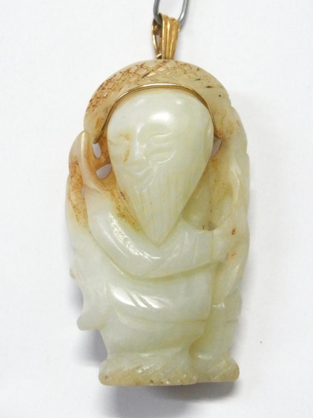 Antique 200ct Muttonfat Jadeite 18k Gold Carved Chinese Jade Buddha Wise Man Statue Pendant  w/ Asian Provenance