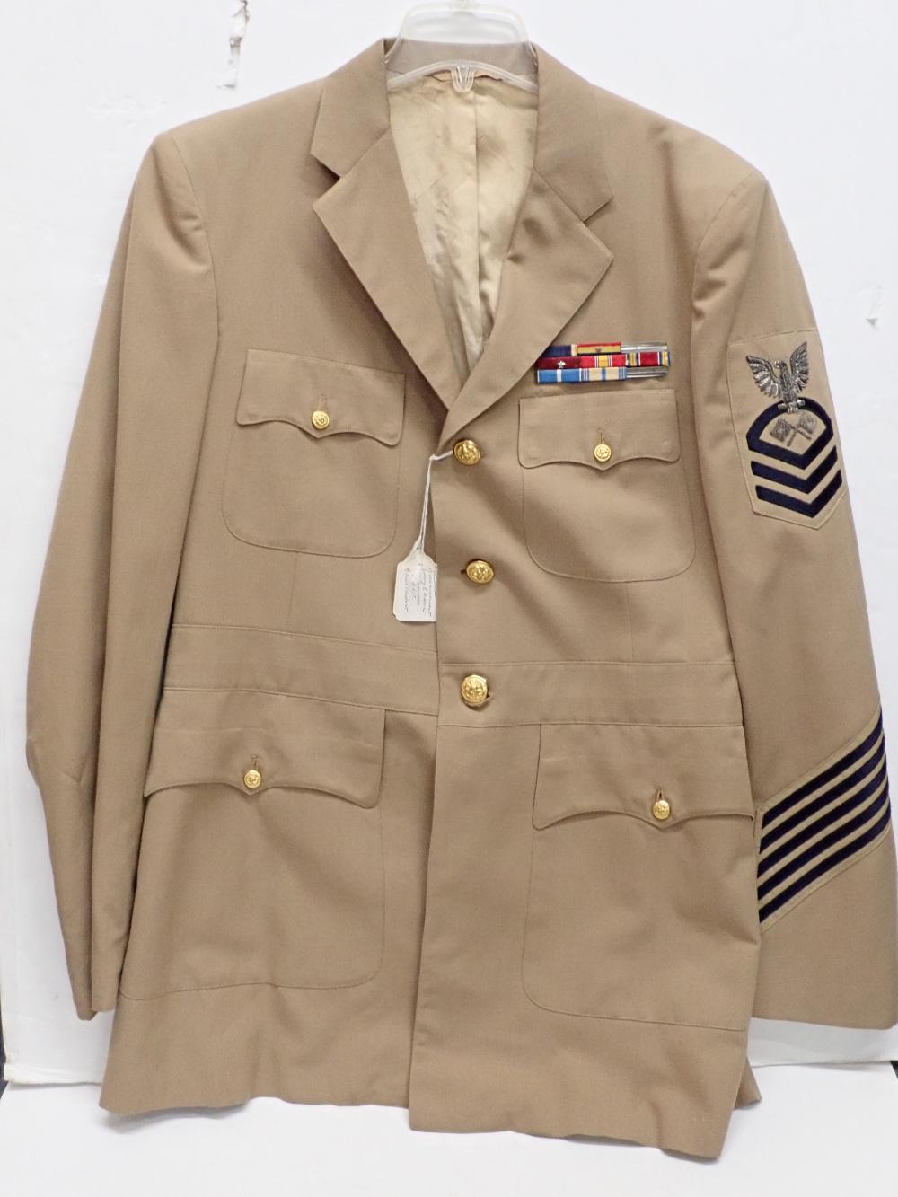 Light Brown US Naval Uniform Jacket w Nine Service Medals Korean War WWII
