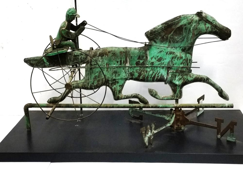 Large 36in Old Folk Art Horse Sulky Copper Verdigris Weathervane Directionals And Display Stand Kentucky Horse Farm Provenance