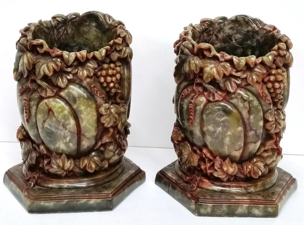 Pair Vintage Nephrite Jade Carved Grape Leaf Vine Pumpkin Bounty Harvest Brush Pot Vases