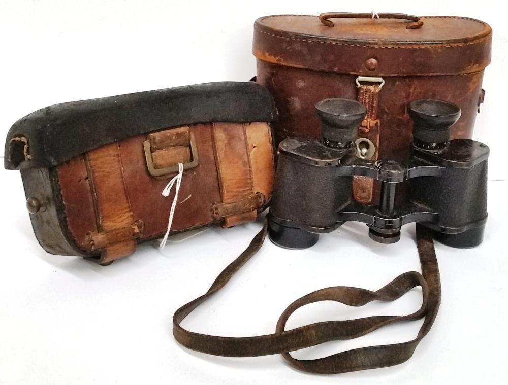 Lot Antique WWI German Early Carl Zeiss Jena Binoculars Cartridge Box Mod 1888