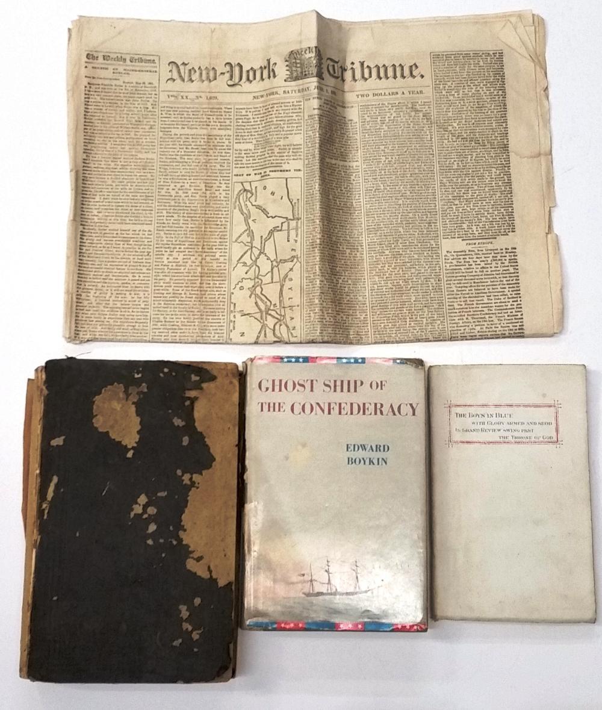 Lot Antique Civil War Era Books Newspaper New York Tribune 1861 1st Ed Ghost Ship Confederacy War Poems Boys In Blue PA Report Unit Roster