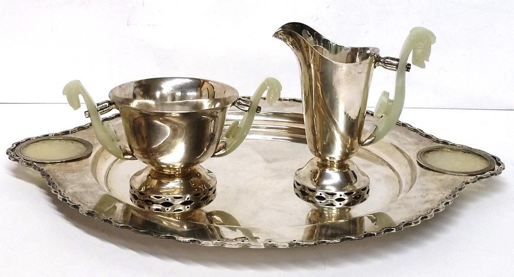 Mutton Fat Jadeite Jade Handle Sterling Silver Vintage 1936 Art Deco Hardy & Hayes Tea Serving Set