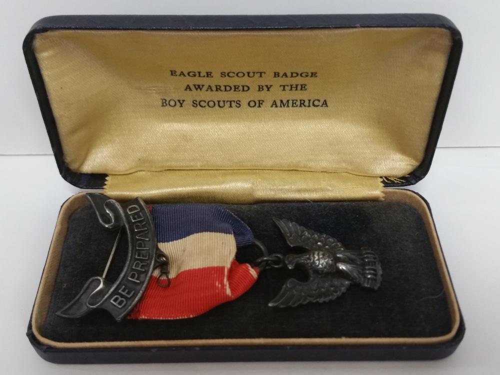 Boy Scout Eagle Scout Medal Badge Sterling Silver Vintage 1930s Original Box