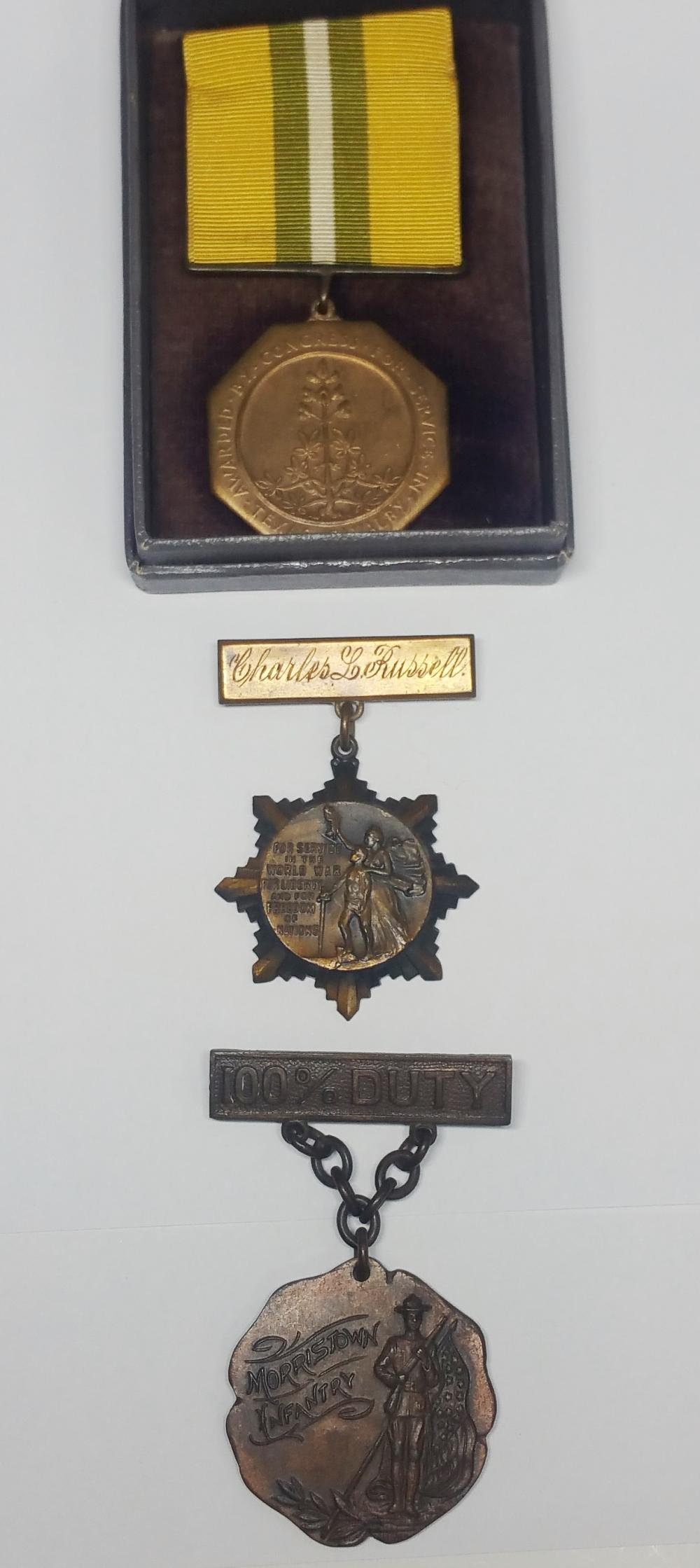 Antique WWI War Medals US American Morristown New Jersey Brotherhood Trainmen Texas Cavalry