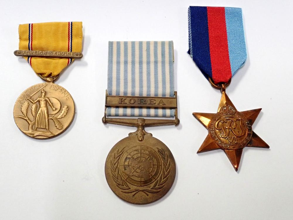 Lot of 3 Antique Military Medals Pins: British Star, Korean War, US Civil Defense