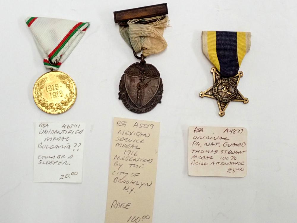 Lot of 3 Antique Military Service Medals from United States , Mexico, and Bulgaria Balkan Wars