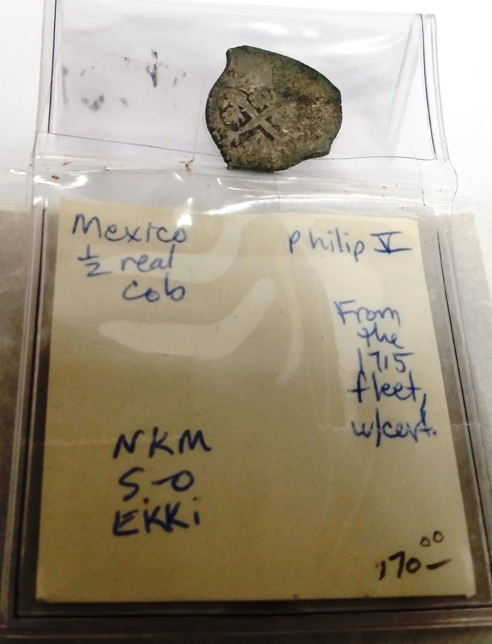 Spanish Flotilla 1715 Fleet Shipwreck Treasure Cob Mexican Half Real Coin COA