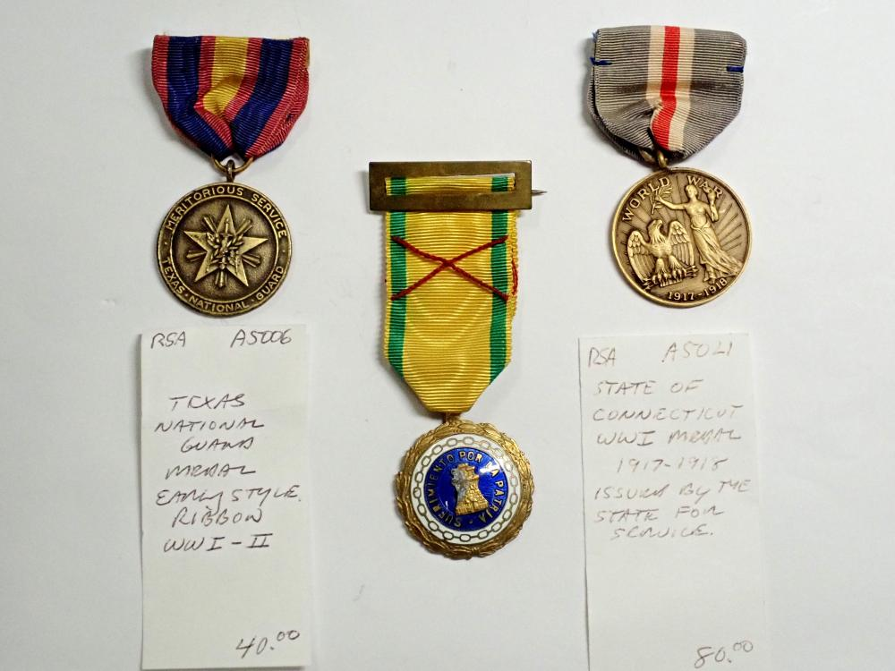 Antique Lot of 3 Military Service Medals re: WWI, Spain's Sufrimiento, & TNG Texas