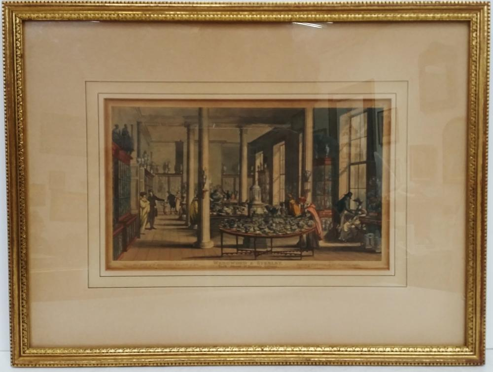 Wedgwood Byerly Pottery Factory Colored 19th Century Engraving  From London Heiress Collection