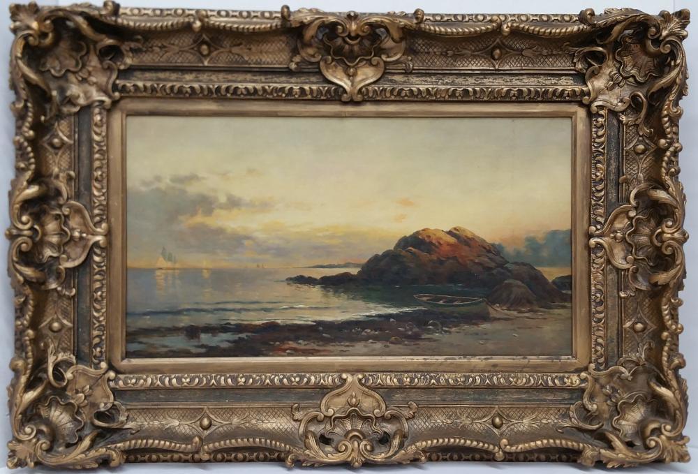 Fine 12x22.5in Victorian Hudson River School Luminist Sunset Seascape Beach Landscape Painting Ornate Frame