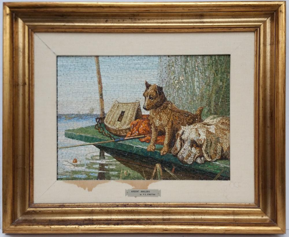 Large Micromosaic Vatican Dogs Fishing P.E. Strettan Ardent Anglers Vintage