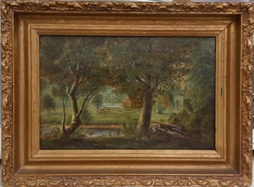 Antique 19c  Signed C.L. Monogram Victorian Frame Cottage Landscape Painting