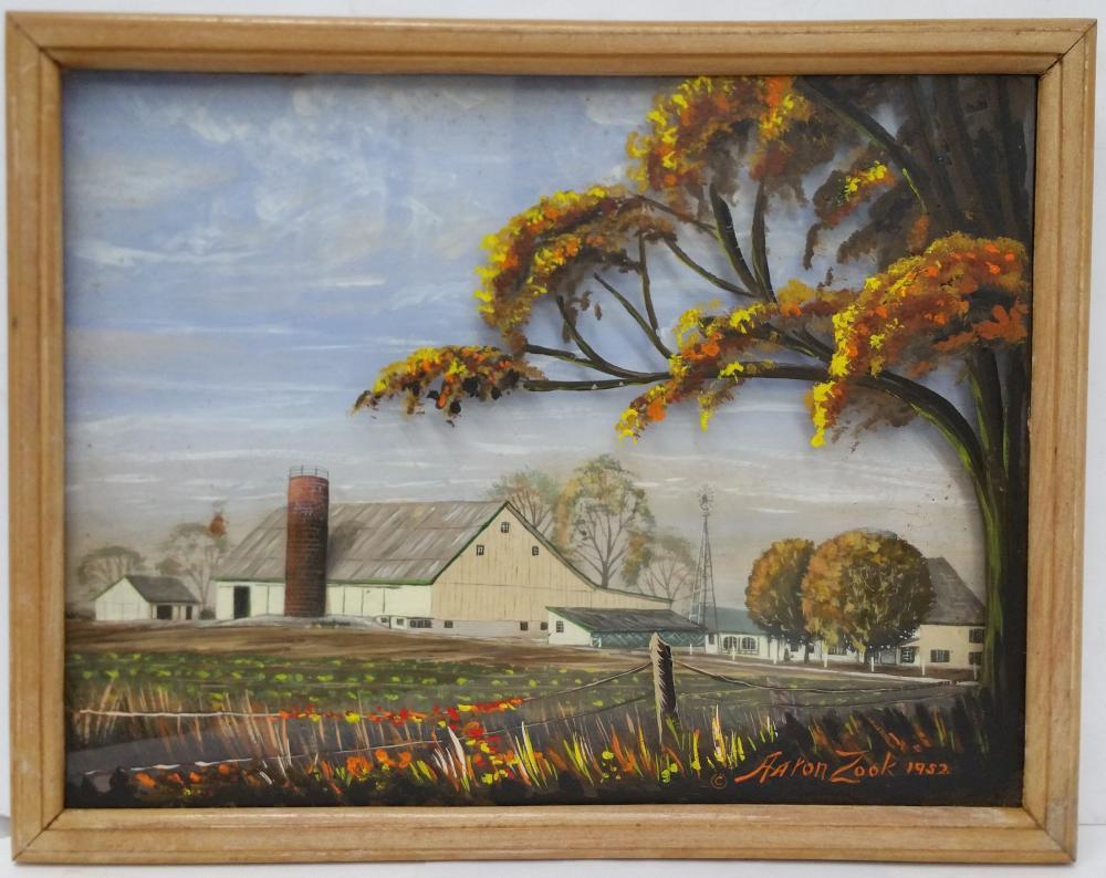 Vintage Aaron Zook Family Farm Mixed Media Diorama Amish Folk Art Landscape Painting